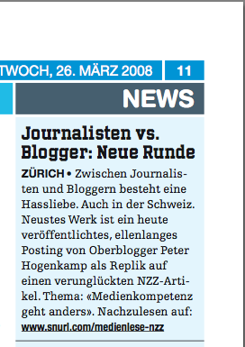 heute - Journalisten vs. Blogger