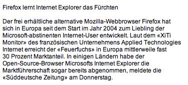 Firefox lernt Internet Explorer das Fürchten