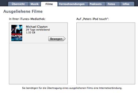iTunes - Film verschieben auf iPod
