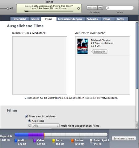 iTunes - Film verschieben auf iPod, Teil 2