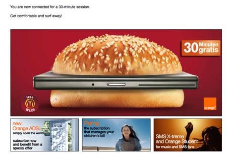 Landing Page McDonald's WLAN